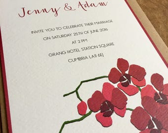 Orchid Wedding Invitation and matching RSVP