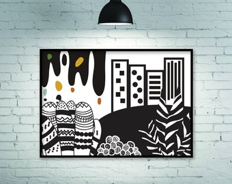 City, art illustration, nordic print, scandinavian design, large art, wall art print, black and white print, black, white, horizontal, print