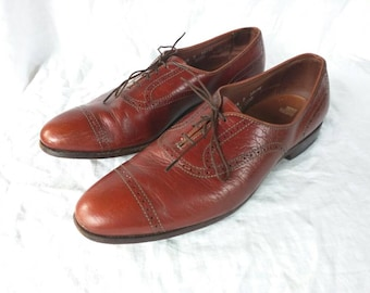 Allen Edmonds simple wingtip 80's soft shoe russet red brown leather 11.5D USA made basic urban