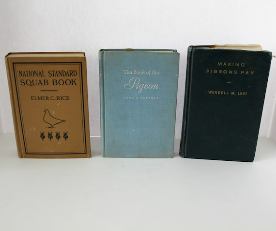 Lot 3 Vintage Pigeon Raising Squab Books, HB 1940s by Rice, Naether, Levi, Bird Books