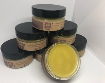 Herbal Gardener's Salve infused with Calendula and Lavender,  Healing Salve for hard working hands,  Hand cream with olive oil,  Coconut Oil