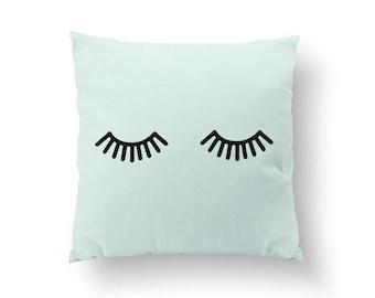 Lashes Pillow, Typography Pillow, Lashes, Home Decor, Cushion Cover, Throw Pillow, Bedroom Decor, Bed Pillow, Gold Pillow, Decorative Pillow