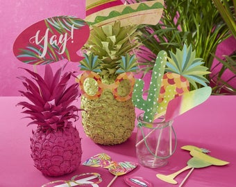 Tropical Iridescent Party Photo Booth Props, Birthday Party Photo Props, BBQ Party Photo Props, Summer Party Photo Props, 10 Props