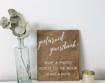 polaroid guestbook sign, wood polaroid guestbook sign, wood wedding sign, sign our guestbook, guestbook sign