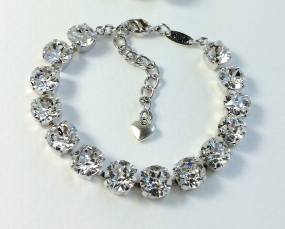 Swarovski Crystal 8.5mm Bracelet -Your Choice Of Crystal Color & Setting Finish - Perfect Bridesmaid Gift!  Designer Inspired- FREE SHIPPING