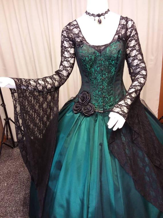 Gothic wedding dress steampunk gown Victorian corset