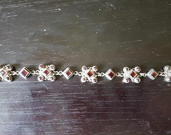 Vintage Heavy Sterling Silver and Garnet Bracelt