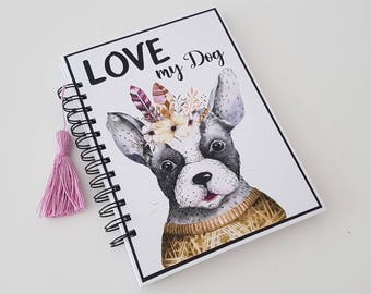Planner. Planner. Cover. Daily. Diary. Art Journal. Dog. Dog. Watercolor. Watercolor. Scrapbooking. Handmade.