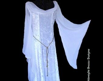 MADE TO ORDER Renaissance Fantasy Bridal Wedding Gown Dress, White Velvet