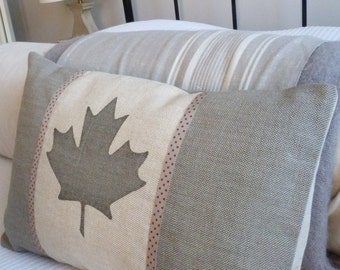 hand printed dove grey Canadian flag pillow cover