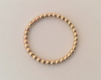 Gold Filled Stacking Ring. 2mm Beaded Ring. Bobble Ring. Bubble Ring. Yellow Gold Filled. Dot Ring.