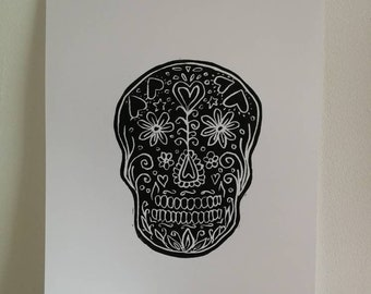 Candy skull Day of the dead Tattoo art Black and white lino cut print of a skull A4 sized paper Original print