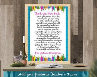 A Parents Thank you, Teacher Appreciation Gift, Kindergarten Teacher Print, Nursery Teacher Print, Childcare Printable, Instant download