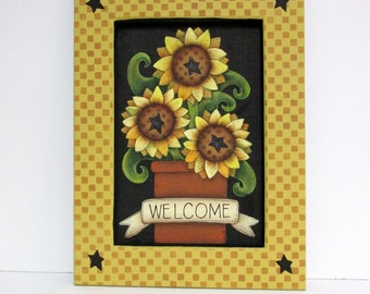 Three Yellow Sunflowers, Framed in Yellow Checker Board Pattern, Welcome Sunflower Sign,Reclaimed Wood Frame,Tole Painted, Sunflowers