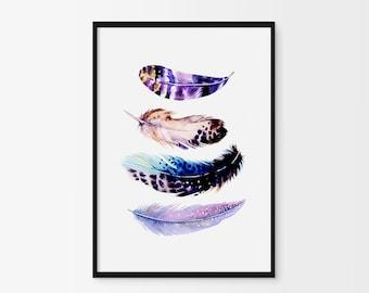 Feather print, Feather Art, Boho Wall Art, Feather Printable, Watercolor art, Tribal Wall Art, Feather Nursery, Women Gift, Feather Poster