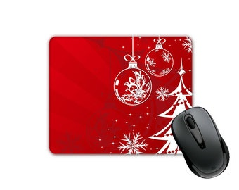 Christmas Theme Red Background White Xmas Tree and Ornaments (SQUARE) Mouse Pad