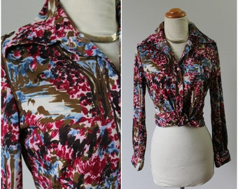 Vintage 60's 70's MOD Trees Abstract People Pointed Collar Polyester Shirt Blouse top hipster