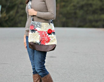 Concealed Carry Purse, Medium Messenger Bag, Red and Neutral Flowers, Conceal Carry Handbag, Concealed Carry Purse, Conceal and Carry