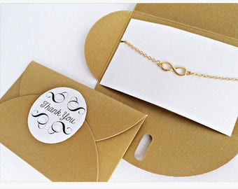 5x Infinity bracelet GOLD // GOLDEN packaging