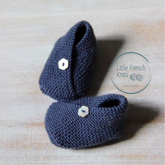 Kimono Baby Booties / Knitting Pattern Baby Instructions in French Instant Digital Download PDF / Sizes Newborn - 3 months / 3 - 6 months