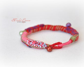 Rope Fabric Bracelet - Pink Red Bangle - Mothers Day Accessories - Bridesmaids Colorful Jewelry - Green Handmade Embroidery