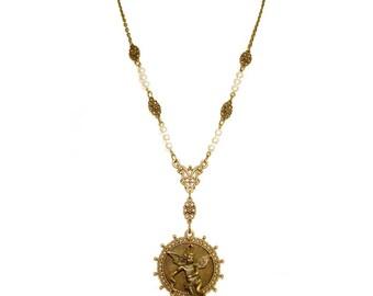 STAR CATCHER ANGEL necklace long pearls bronze brass filigree cherub rococo baroque victorian statement starburst setting dangle bust height