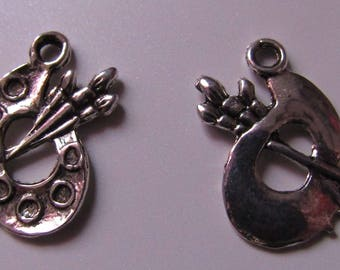 charm, set of 10, silver, paint palette, 17mmx12mm