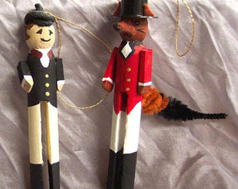 Mr. Fox & Hunter Clothes Pin Ornaments