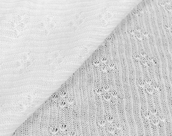 100% Cotton Pointelle Knit Fabric (Wholesale Price Available By the Bolt) USA Made Premium Quality - 5583C White - 1 Yard