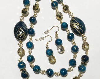 Long Necklace, Dark Aqua Blue, Gold, Acrylic, Specialty Faceted Glass, Non Tarnish Gold Wire, Continuous Strand Necklace