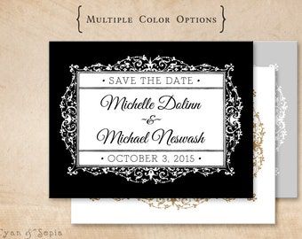 Ornate Gothic Frame - Wedding Save the Date, Printable 4x5 Postcard  - Black White Gold Silver Royal - Victorian Elegant Formal Antique
