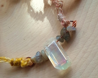 Arcanity: Moondream Necklace - semi-precious Angel Quartz and moonstone, copper, textured handspun yarn