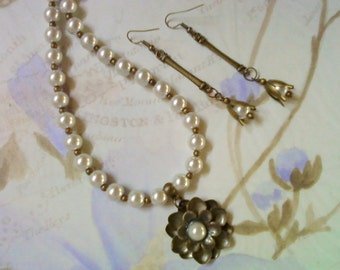 Brass and White Pearl Flower Necklace and Earrings (2115)