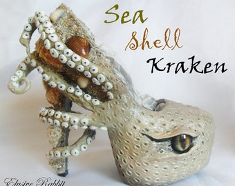 The Sea Shell Kraken Heels Custom Hand Sculpt Paint Shoe Size 3 4 5 6 7 8  High Wedge Sea Abyss Creature Monster Mythical Octopus Squid