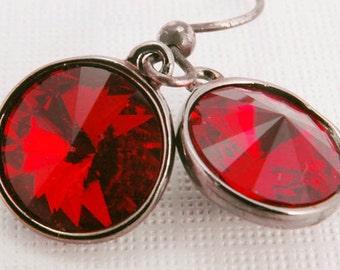 Ruby Dangle Earrings, Red Swarovski Crystal Geometric Earrings, Gunmetal Modern Gifts for Her Under 20 - LAST PAIR
