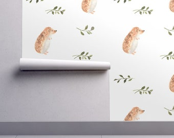 Hedgehog Wallpaper - Curious Hedgehog Smaller Scale By Pacemadedesigns- Custom Printed Removable Self Adhesive Wallpaper Roll by Spoonflower
