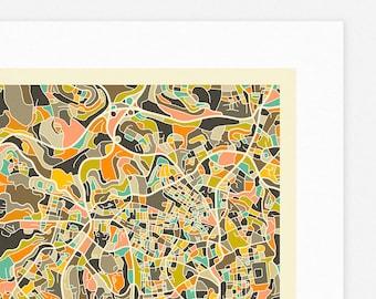 JERUSALEM MAP (Giclée Fine Art Print/Photo Print/Poster Print) by Jazzberry Blue (ivory version)