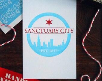 letterpress chicago sanctuary city logo mini print postcard red blue urban city resist protest