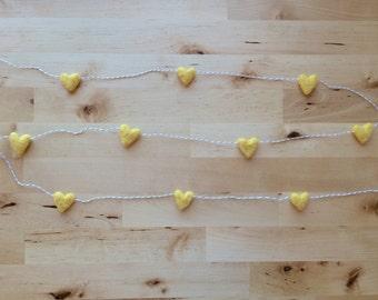 Wool heart garland, Yellow, on tan striped baker's twine, 6ft, yellow nursery decor, yellow garland, unisex baby shower garland, heart party