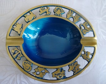 Vintage Judaica brass and blue enameled ashtray with 12 symbols of the Zodiac