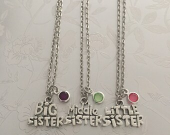 Big Sister, Middle Sister & Little Sister necklace with Birthstone