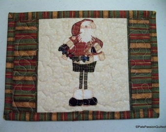 Christmas Quilted Mug Rug, Mini Place Mat, Snack Mat, Quilted Coaster Santa With a Wooden Train