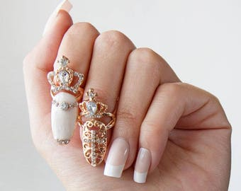 Crown Nail Ring (set of 2)