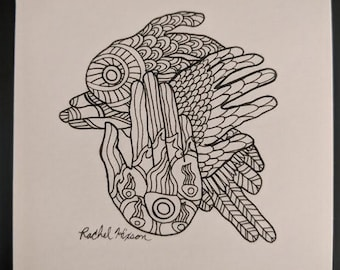 Feather Hands - Unframed Original Artwork 3x3in