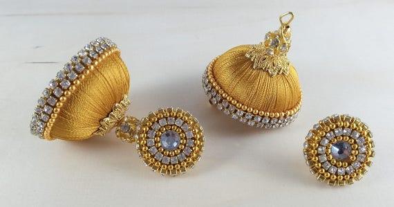 Handmade silk thread earrings,crystal chain,golden balls,clear white  stones, jhumkas,jimikki kammal,deattachable studs,jewellery #SWS0061