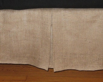 """14"""" To 20"""" Drop - CRIB NATURAL BURLAP Bed Skirt With Kick Pleat On Each Side"""
