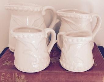 Vintage Eagle and Stars White Ceramic Measuring Cups Patriotic Retro Americana Kitchen Accessories Decor