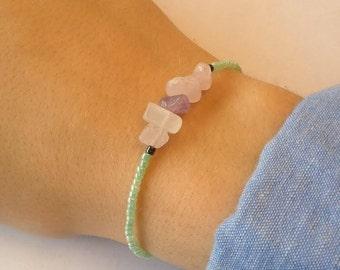 Quartz nugget bracelet pink and Amethyst