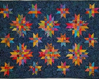 "Star Light, Star Bright Quilt, Multi colored Bright Stars on a Navy Background"" 64"" x 47"""