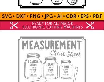Measurements Cheat Sheet Svg Measurements Cheat Sheet Cut Files Silhouette Studio Cricut Svg Dxf Jpg Png Eps Pdf Ai Cdr